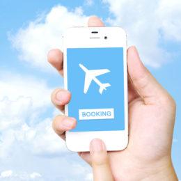 Hand hält Smartphone mit einem online gebuchten Flugticket auf dem Bildschirm